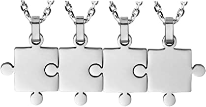 BANCHELLE Puzzle Style Necklace Best Friends Pendant Necklace Stainless Steel Jewelry (4 Pieces)