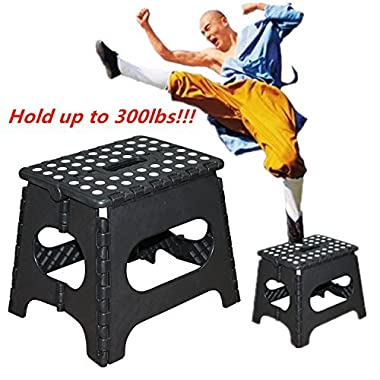 WINMI Folding Step Stool 11 Inches Portable Heavy Duty With 300 lbs Capability Foldable Stool For Kids, Adults,Kitchen And Bathroom Stepping Stool (Black)