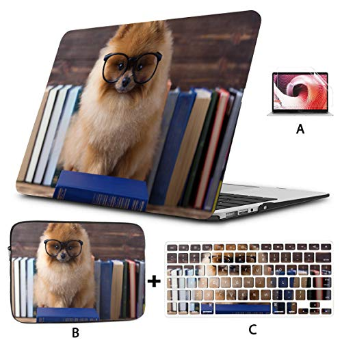 Macbook Pro Protector Clever Pomeranian Dog With A Book Macbook Air Cases Hard Shell Mac Air 11'/13' Pro 13'/15'/16' With Notebook Sleeve Bag For Macbook 2008-2020 Version