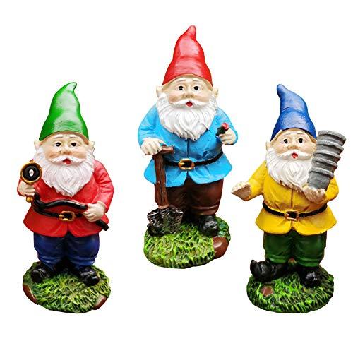MUAMAX Miniatur-Gartenzwerge, 3 Stück, Feengarten-Zwerge, Zubehör, kleine Zwerge, Figuren, Outdoor-Gartendekoration, Ornamente