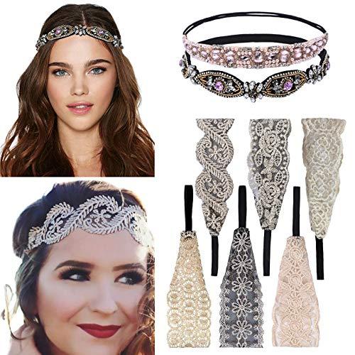 8 pezzi fascia in pizzo fascia strass elasticizzata fascia in pizzo gioielli con perle fasce in rilievo fascia per capelli elegante per donne lady girls