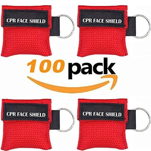 CPR Maske, Packung mit 100 Stück CPR-Gesichtsschutz-Notfallausrüstung Rettungsgesichtsschutz für Erste-Hilfe- oder CPR-Training (Red-100)