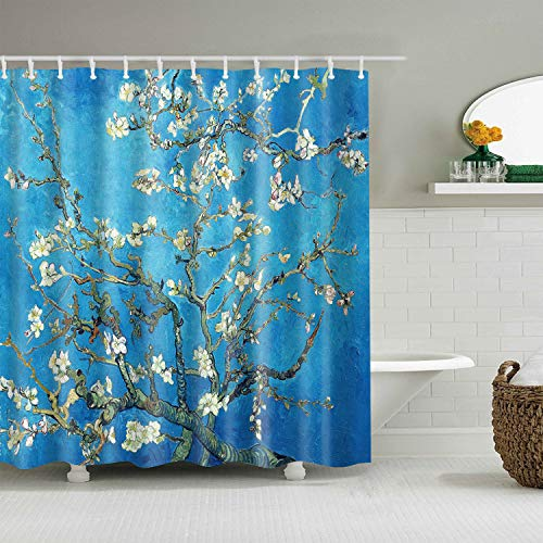 INVIN ART Badezimmer-Duschvorhang-Set mit Haken, Mandelblüte von Van Gogh, Heimkunst Gemälde Bilder für Badezimmer
