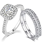 SDT Jewelry Three-in-One Bridal Wedding Engagement Anniversary Statement Eternity Ring Set (Silver, 6)