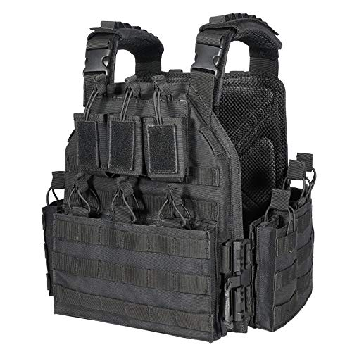 CAMO Outdoor Tactical Military Carrier Vest (Black)