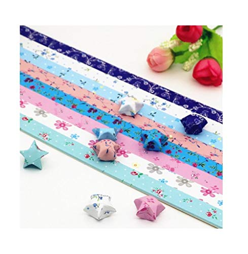 Sternpapierset, bedrucktes handgemachtes Glückssternorigami, Wunschflasche kreatives farbiges Papier mit gestapelten Sternen-A8