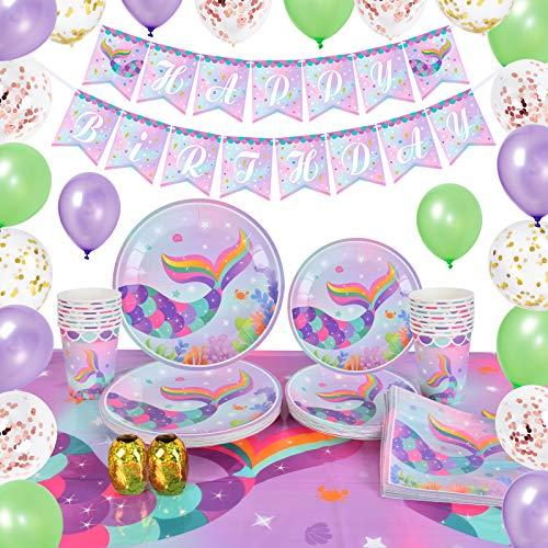 WERNNSAI Sirena Decoraciones de Fiesta Kit - Verano Piscina Suministros de Fiesta para Chicas Sirena Cumpleaños Bandera Globos Manteles Platos Tazas Servilletas Vajilla Sirve 16 Invitados 89 Piezas