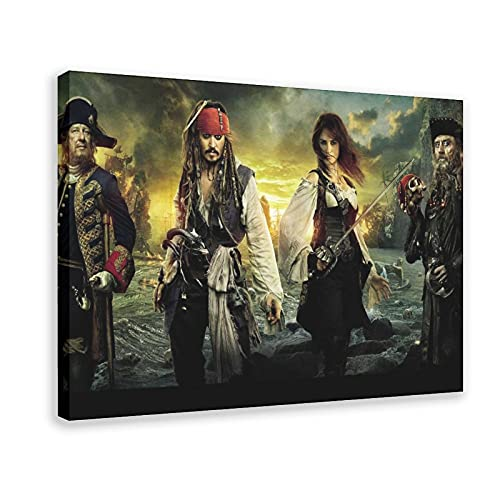 Póster de piratas del Caribe 5 en lienzo para decoración de pared, para sala de estar, dormitorio, marco de decoración de 60 x 90 cm