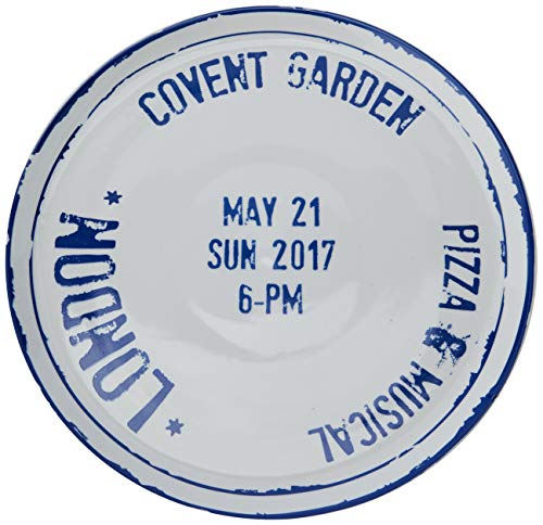Bitossi Home Travel Piatto Pizza in Porcellana, Bianco/Blu (London), 31 cm