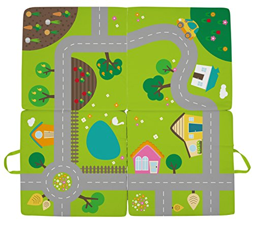Achoka kruipdeken, 3-in-1, comfortabel. Zitkussen - tapijt voor kinderen en baby's - kleine kinderen - straat - meisjes jongens - polyester - 100 x 100 cm - gemakkelijk mee te nemen