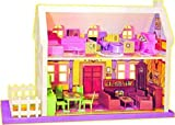 mQFIT Doll House Play Set, Doll House with Master Bedroom, Dining Room, Living