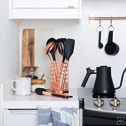 Copper Kitchen Utensils with Copper Utensil Holder - 17PC Set: Black and Copper Measuring Cups and Spoons Set, Rose Gold Kitchen Utensil Set -Black and Copper Kitchen Accessories