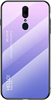 YEESOON Oppo F11 Case, Fantastic Gradient Change Color Case Tempered Glass Backplane Soft TPU Bumper Back Cover for Oppo F...