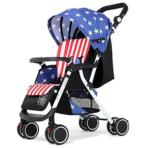 Poussetter Yhz@ Baby, Suspension pour bébé léger Pliable 4 Roues Suspendu Nouveau-né Chariot Poussoir réglable en Hauteur (Couleur : Bleu)