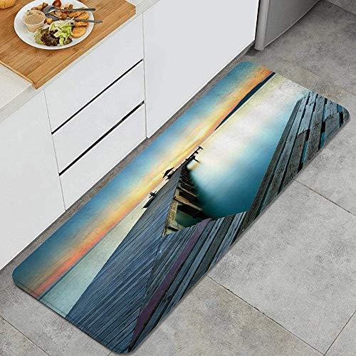 VAMIX Alfombra de Cocina,Puente Naturaleza Paisaje Lago Atardecer Pabellón Montaña Lejana,tapete Decorativo para Piso de Cocina con Respaldo Antideslizante, 47'x17'