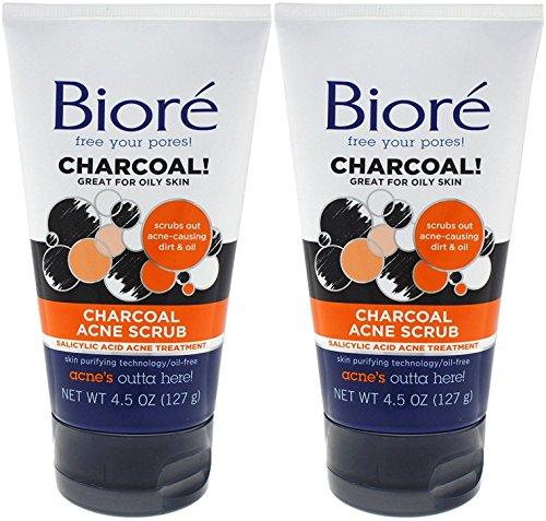 Biore Charcoal Acne Scrub 4.5 Ounce (133ml) (2 Pack)