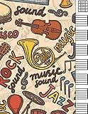 Cuaderno De Tablatura Guitarra: papel pautado musica