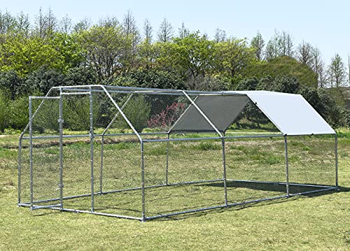 Large Metal Chicken Coop, Hen Run Duck House Outdoor Yard Walk-in Poultry Cage, Rabbits Habitat Cage Spire Shaped Coop with UV & Waterproof Cover for Backyard Farm Use (9.2'L x 18.7'W x 6.4'H)