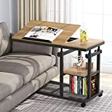 Tribesigns Height Adjustable C Table with Wheels, Mobile Couch Snack Side Table with Tiltable Drawing Board, Sofa Bedside Laptop Stand C Shaped TV Tray with Storage Shelves (Black+Oak)