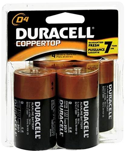 Duracell Coppertop D Alkaline Batteries 1.5 Volt 4 Each (Pack of 3)
