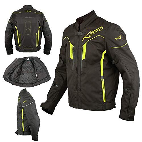 A-Pro Textil Motorrad Hohe Sichtbarkeit Jacke Wasserdicht CE Protektoren Fluo XXL