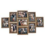 Marcos De Fotos 9Pcs Portarretratos pared Photo Frame Set 7-pulgadas creativo de la boda de la serie de fotos de la familia de los marcos for la foto decoración de la pared ( Color : Walnut Color )