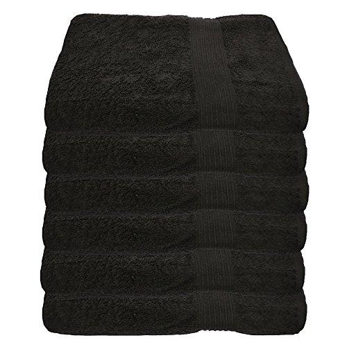 Julie Julsen 6er Pack Handtuch 29 Farben erhältlich weich und saugstark 500gsm Öko Tex Schwarz 50 x 100 cm B-Ware