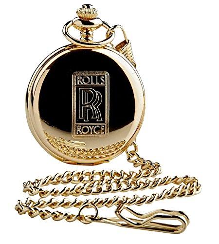 Rolls Royce gouden Pocket horloge 24 karaat gecoate volledige jager met ketting in houten geschenkdoos