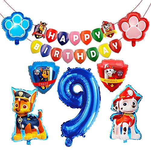 HONGECB Suministros de fiesta de Patrulla Canina, Globos de Patrulla Canina, Banner de Happy Birthday, Numeros 9 Decoracion, Perros Foil Helio Balloons for Kids Gift Fiesta, 9 Piezas