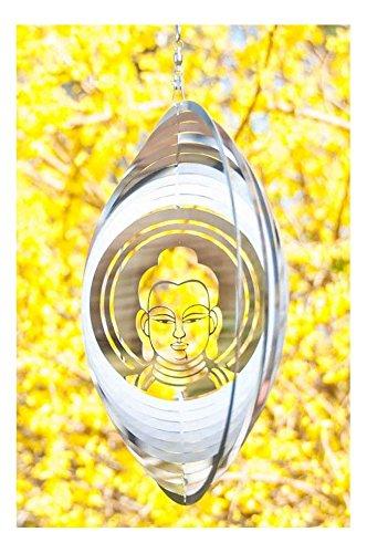 dsnetz Windspiel Buddha ø 25 cm aus Edelstahl   Wohn-Dekoration Mobile Spirituelles Symbol   Feng Shui Esoterik Geschenke günstig kaufen