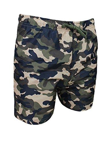AK collezioni Costume Mare Uomo Mimetico Militare Verde Pantaloncino Boxer Slim Fit Shorts Bermuda...