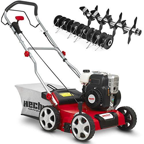 (NEU) HECHT 2-IN-1 Benzin Vertikutierer/Lüfter für optimale Rasenpflege – 2,5 kW / 3,4 PS – 40 cm Arbeitsbreite – 45 l Fangkorb – mit 2 Walzen für effektives entfernen von Moos und Unkraut im Rasen