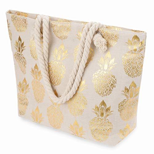 LONGBLE Damen Shopper Einkaufstasche Tragetasche XXL Große Strandtasche mit Reißverschluss Schultertasche Badetasche mit Kordel Henkel, Metallic Ananas Aufdruck