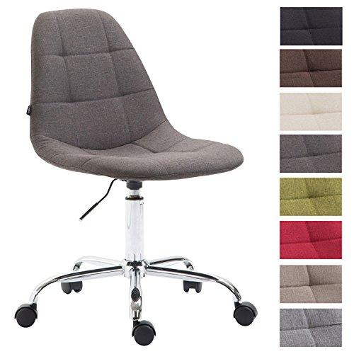 CLP Bürostuhl Reims mit Stoffbezug | Schreibtischstuhl mit gestepptem Sitz | Höhenverstellbarer Arbeitsstuhl mit Metallgestell erhältlich Dunkelgrau