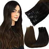 LaaVoo 14 Pollice Clip in Extensions Capelli Veri Donna #1B/4 Nero Naturale Ombre Marrone Scuro Real Human Hair 120 Grammi/7 Pezzi