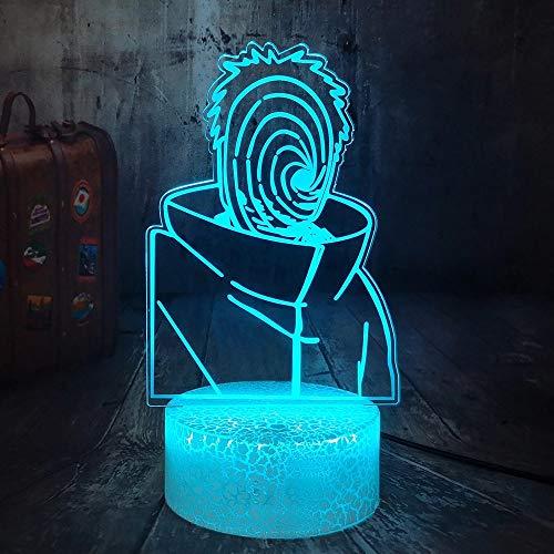 Divertido anime naruto acrílico multicolor luz creativa pequeña lámpara de mesa luz de noche led luz visual 3D dormitorio, luz de decoración de habitación