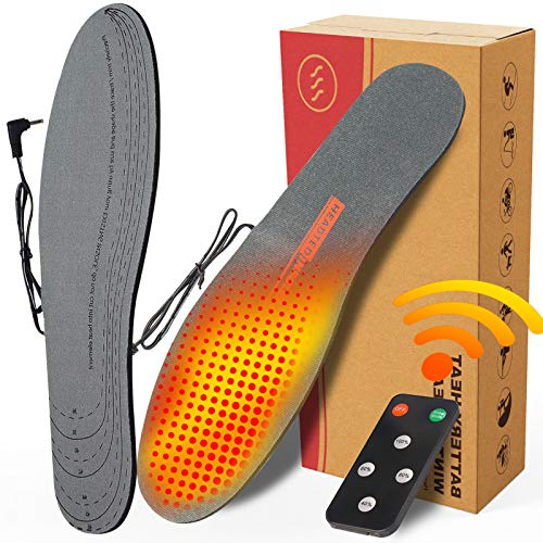 CREATRILL Rechargeable Electric Heated Insoles with Remote Control for Men & Women Free to Cut Heated Insoles for Hiking Skiing Fishing Hunting