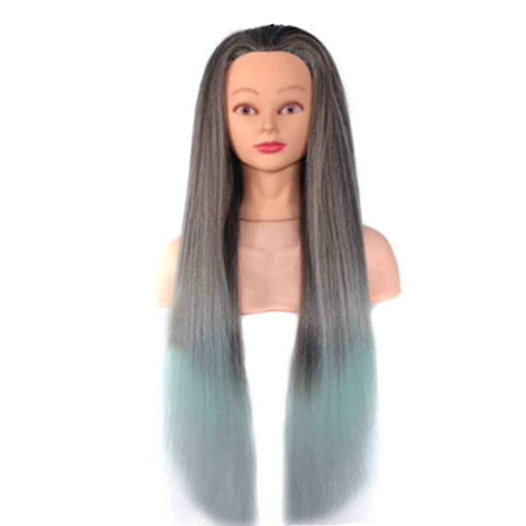 骨流行しているインテリア化粧板髪練習帽子ジュエリーディスプレイヘッド金型高温シルクグラデーションカラートレーニングヘッドヘアマネキン,09