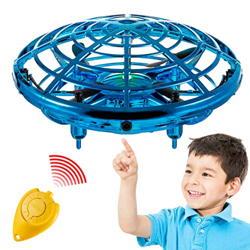 Hand Operated Mini Toy Drone for Kids, Upgraded UFO Flying Ball Toy with LEDs, USB Rechargeable Indoor Drone, Most Popular 2021 Birthday Gift for 4, 5, 6, 7, 8, 9, 10, 11, Year Old Boys and Girls