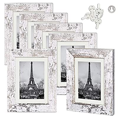upsimples 5x7 Picture Frame Wood Pattern Distressed White with High Definition Glass,Display Pictures 4x6 with Mat or 5x7 Without Mat,Multi Photo Frames Collage for Wall or Tabletop Display,Set of 6