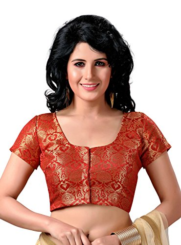 STUDIO SHRINGAAR WOMEN'S LATEST TRADITIONAL RICH RED AND GOLD BENARAS BROCADE FULLY STITCHED SAREE BLOUSE WITH SHORT SLEEVES (40)