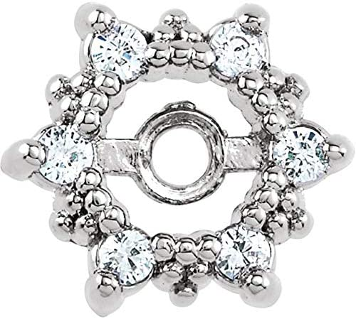 14K White Gold 1/10 CTW Diamond Earring Jackets with 3.3 mm ID Halo-Style Earring Jackets