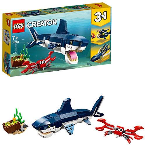LEGO 31088 Creator 3 en 1 CriaturasdelFondoMarino, Tiburón o Calamar o Pez Pescador, Juguete de Construcción para Niños a Partir de 7 años