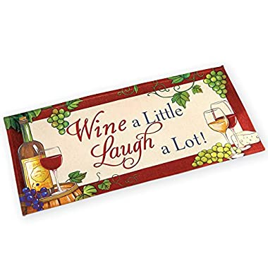 Collections Etc Wine a Little Laugh a Lot Novelty Vineyard Accent Rug