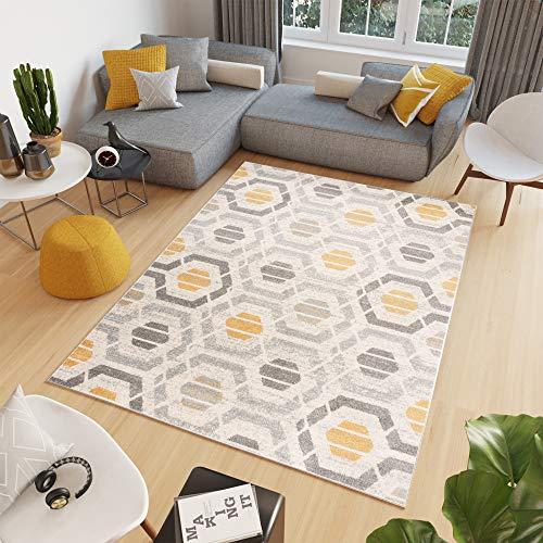 Tapiso Cosmo Alfombra de Salón Comedor Juvenil Diseño Moderno Gris Amarillo Crema Geométrico Hexágono Suave 200 x 300 cm