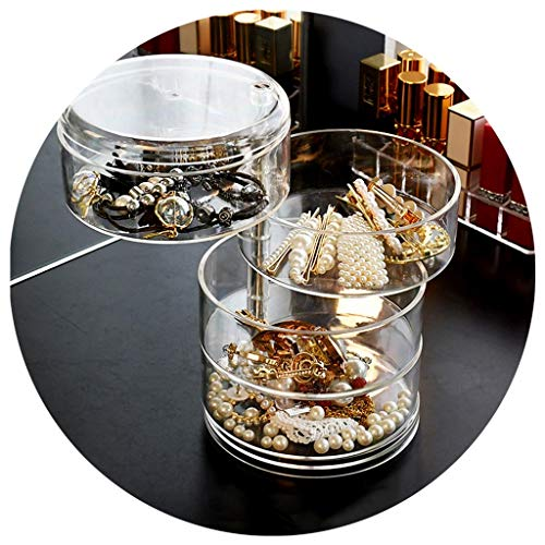 Joyería Caja giratoria Transparente Caja Horquilla Soporte de exhibición de Pendientes Collar de Mano Caja de Almacenamiento de Pendientes (Color : Clear, Size : 4th Floor)