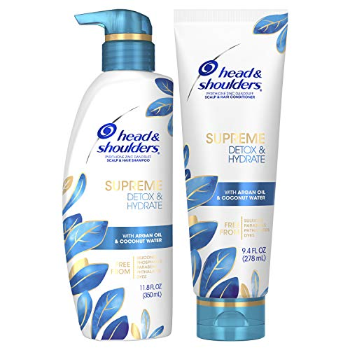 Head & Shoulders Supreme Dry Scalp Care and Dandruff Treatment Argan Oil Shampoo and Conditioner Bundle, with Coconut Water, Detox and Hydrate, Safe for Color Treated Hair, 11.8 Fl Oz Twin Pack