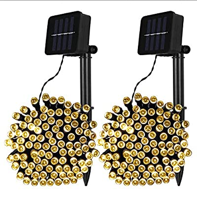 Qunlight 2 Pack Solar String Lights 33ft 100 LED Solar Powered Outdoor Lighting Waterproof Christmas Fairy Lights for Xmas Tree Garden Homes Ambiance Wedding Lawn Party Decor (Warm White)