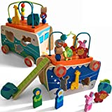 Jouet en bois en forme d'arche de Noé - Jouet éducatif multi-sensoriel en bois - Cadeau idéal pour les enfants de 18 mois + 2, 3, 4, 5 ans - Garçons et filles