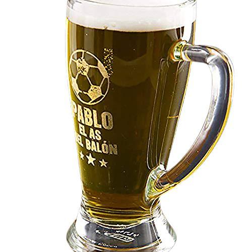 Regalo Personalizable para futboleros: Jarra de Cerveza Baviera grabada con su Nombre, el Texto